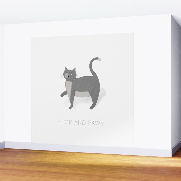 Stop and Paws - A Cat's moment to pause Wall Mural