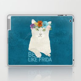 Be like Frida! White cat in flower crown on blue Laptop & iPad Skin