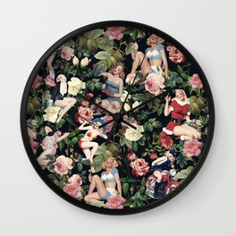 Floral and Pin Up Girls Pattern Wall Clock