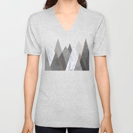Marble Gray Copper Black and White Mountains Unisex V-Neck