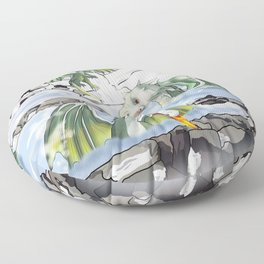 Dragons in a natural hot spring onsen Floor Pillow