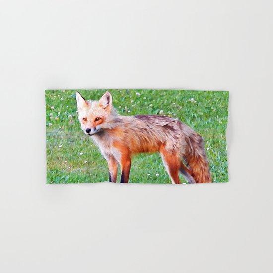 Red Fox in a Yard Hand & Bath Towel