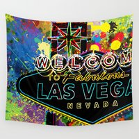 las vegas Wall Tapestries featuring Welcome to Las Vegas by Gary Grayson
