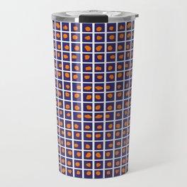 Boxed Dots Orange on Dark Blue Travel Mug