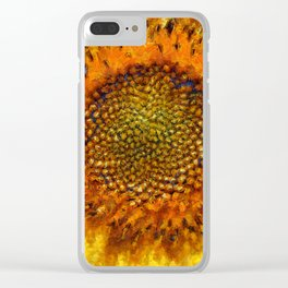 Sunflower and Seeds In Van Gogh Style Clear iPhone Case