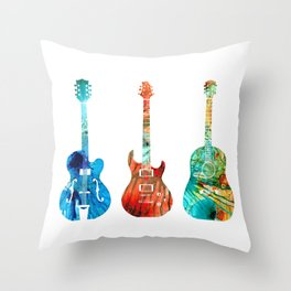 Abstract Guitars by Sharon Cummings Throw Pillow
