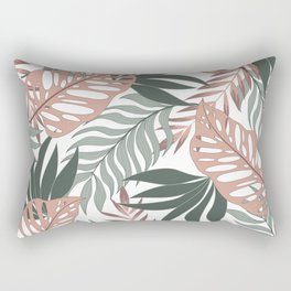 Original seamless tropical pattern with bright plants and leaves on a delicate background. Modern abstract design for fabric, paper, interior decor. Exotic wallpaper. Rectangular Pillow