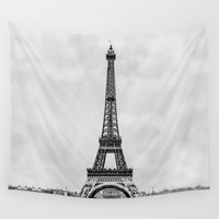 engineer Wall Tapestries featuring Eiffel tower in greyscale with painterly effect by Bruce Stanfield