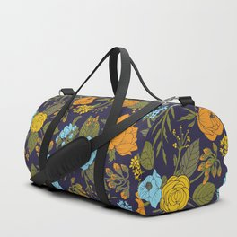 Blue, Turquoise, Green, Orange & Yellow Floral/Botanical Pattern Duffle Bag