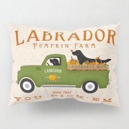 Labrador Black Lab Vintage Pumpkin Truck Autumn Fall Farm Halloween Pillow Sham