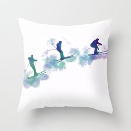 jumping skier Throw Pillow
