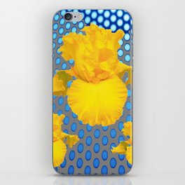 YELLOW IRIS FLOWERS ON  BLUE COLOR PATTERNS iPhone Skin