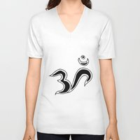 om V-neck T-shirts featuring Om by Dror Designs