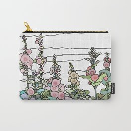 flowers and leaves on white background Carry-All Pouch