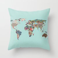 louis armstrong Throw Pillows featuring Louis Armstrong Told Us So (teal) by Bianca Green