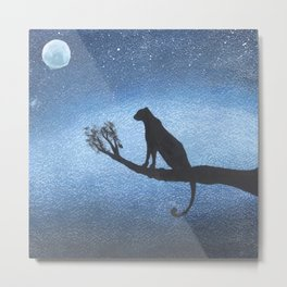 Leopard on a tree in the jungle in a bright starry night Metal Print
