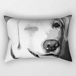 labrador retriever dog winking vector art black white Rectangular Pillow
