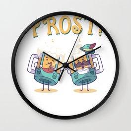 Prost! Oktoberfest Beer Cheers Funny Steins Wall Clock