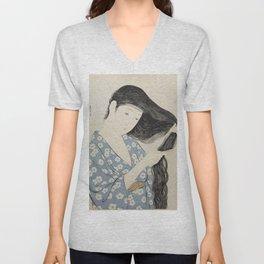Goyō Hashiguchi Woman Combing Her Hair Japanese Woodblock Print Unisex V-Neck