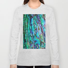 Glowing Aqua Abalone Shell Mother of Pearl Long Sleeve T-shirt