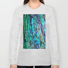Glowing Aqua Abalone Shell Mother of Pearl Long Sleeve T-shirt