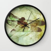 dragonfly Wall Clocks featuring Dragonfly by SpaceFrogDesigns