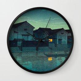 Kawase Hasui Vintage Japanese Woodblock Print Japanese Village Under Moonlight Cloudy Sky Wall Clock