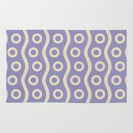 Mid Century Modern Rising Bubbles Pattern 2 Lavender and Tan Rug