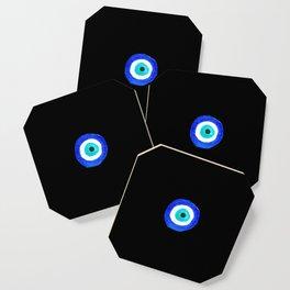 Single Evil Eye Amulet Talisman Ojo Nazar - on black Coaster