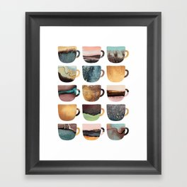 Earthy Coffee Cups Framed Art Print