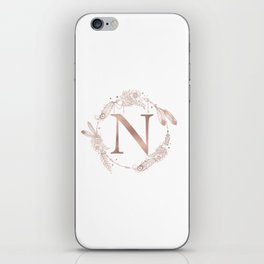 Letter N Rose Gold Pink Initial Monogram iPhone Skin