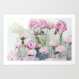 Peonies Cottage Aqua Pink Shabby Chic Watercolor Peony Prints Home Decor Art Print