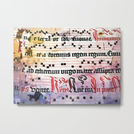 Choral Book Middle Ages - Music - Vintage Grunge Texture Metal Print