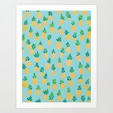 Gold Pineapple Pattern Art Print