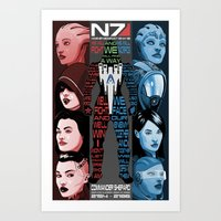 n7 Art Prints featuring N7: The Female Squad by Alex Rodway Illustration
