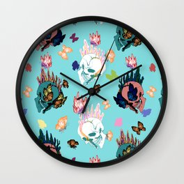 Skulls and Butterflies Colored Pattern Wall Clock