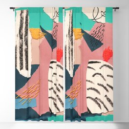 abstract collage with embroidery Blackout Curtain