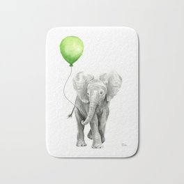 Baby Elephant with Green Balloon Bath Mat