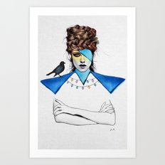 Blue Girl & Black Bird Art Print