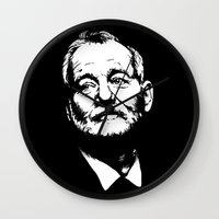 murray Wall Clocks featuring Bill Murray by Laura Lindsey