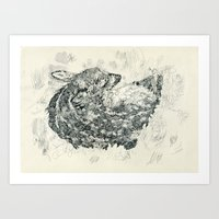 fawn Art Prints featuring Fawn by NVM Illustration