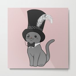 Grey Cat Wears Plumed Top Hat Metal Print