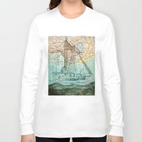 sailboat Long Sleeve T-shirts featuring Mom's Sailboat by Brittany Rae