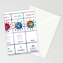 A and B and O Blood Type Chart Stationery Cards