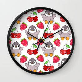 Cute funny sweet adorable happy baby penguins, little cherries and red ripe summer strawberries cartoon fantasy brightwhite pattern design Wall Clock