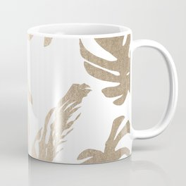 Simply Tropical Palm Leaves in White Gold Sands Coffee Mug