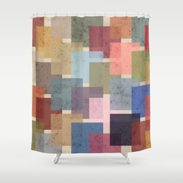 Vintage Colorful Squares Shower Curtain