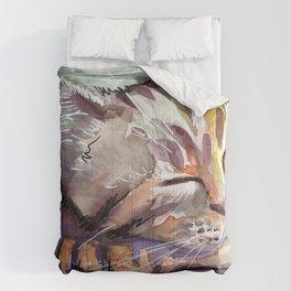 Cute Sleeping Kitten Watercolor Comforters