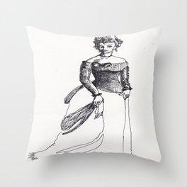 Fashion Illustration--vintage fashion 19th-century Victorian Throw Pillow
