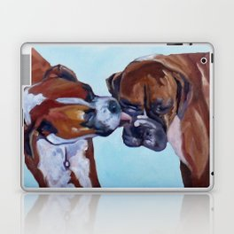 Kissing Boxers Dogs Portrait Laptop & iPad Skin